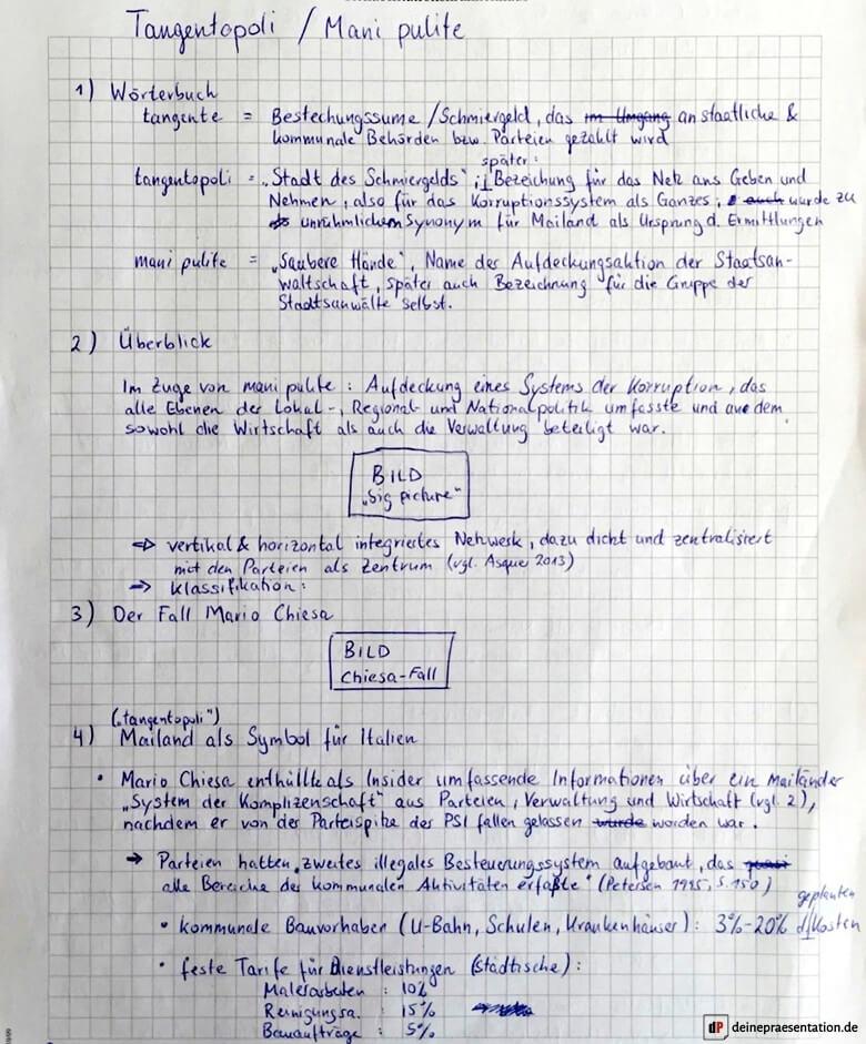 Gliederung Outline Präsentation Mani Pulite